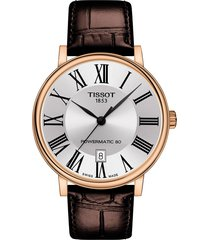 men's tissot t-classic carson powermatic 80 leather strap watch, 40mm