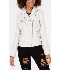 guess asymmetrical faux-leather moto jacket