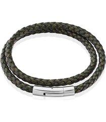 bracciale in acciaio e pelle verde per uomo