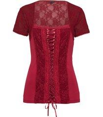 maglia con pizzo e stringatura (rosso) - bodyflirt
