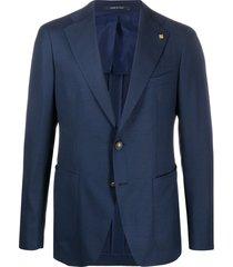 tagliatore fine knit slim-fit suit jacket - blue