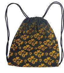 mochila saco cordinha alkary floral preta