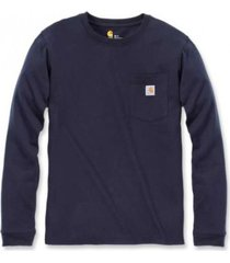 carhartt t-shirt women workwear pocket l/s t-shirt navy-xs