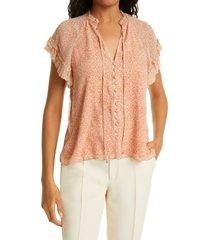 jonathan simkhai nadia crinkle silk chiffon blouse, size small in caramel ditsy dot at nordstrom
