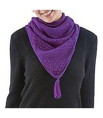 100% alpaca neck warmer, 'purple warmth' (peru)