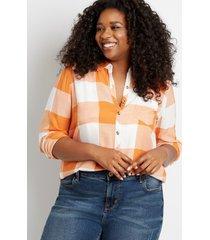 maurices plus size womens orange buffalo plaid button down shirt