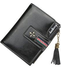 baellerry cartera dama billetera borla piel cera de aceite