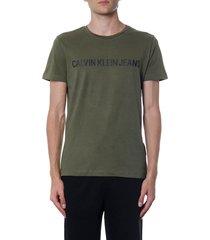 calvin klein jeans green organic cotton t-shirt with logo