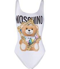 moschino teddy bear frame swimsuit - white