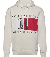 lh fleece logo hoody hoodie trui crème tommy hilfiger