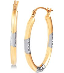two-tone oval hoop earrings in 14k gold & white rhodium-plate