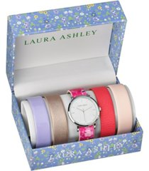 laura ashley silver slidethrough interchangeable sleek dial floral straps set watch