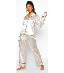 satijnen pyjama set met knopen en biezen, zilver
