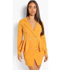scuba blazer jurk met franjes, orange