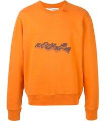 off-white 3d pencil crewneck sweatshirt - orange