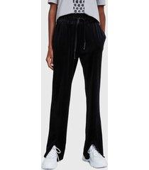 pantalón de buzo desigual pant pintuck negro - calce holgado