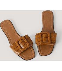 trendyol croco slippers - brown