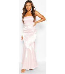 petite occasion satin bow back maxi dress, soft pink