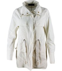 lorena antoniazzi kway nylon jacket with drawstring waist with pockets and zip and button closure