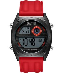 kenneth cole reaction men's dress sport round red silicon strap watch 44mm