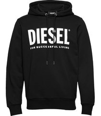s-gir-hood-division-logo sweat-shir hoodie trui zwart diesel men