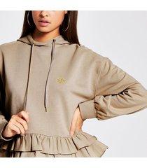 river island womens beige rvr frill hem hoodie
