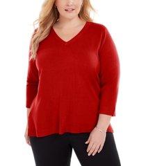 karen scott plus size v-neck luxsoft sweater, created for macy's