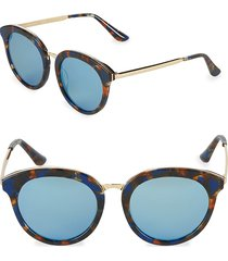 aqs women's tinted 54mm oval sunglasses - brown blue