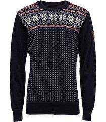 garmisch masc sweater stickad tröja m. rund krage blå dale of norway