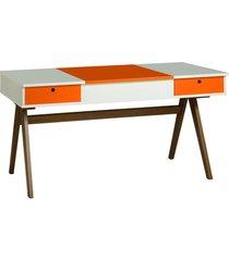 mesa escrivaninha delacroix 430 nogal/branco/laranja novo - maxima