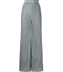 m missoni wide metallic blue lurex pants