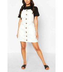 denim mini-jurk met hoornknopen, ivoor