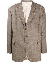 marni distressed oversized blazer - brown