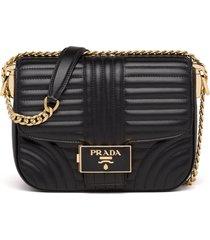 prada stitched leather shoulder bag - black