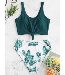 leaf print knot high waisted tankini swimsuit