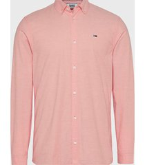 camisa tommy jeans tjm stretch oxford shirt coral - calce slim fit