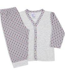 conjunto pijama bebê com botões quadriculado mescla - look infantil