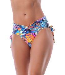 calcinha summer soul cós alto com franzido e amarração tropical colors