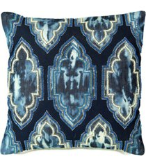 "tie dye denim 18"" square decorative pillow"