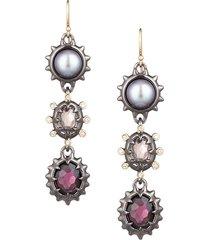alexis bittar women's georgian stone triple-drop wire earrings