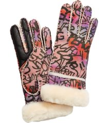 ugg graffiti seamed shearling tech gloves