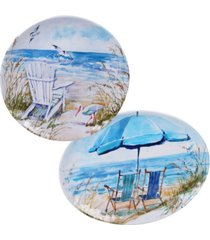 certified international ocean view melamine 2-pc. platter set - round and oval