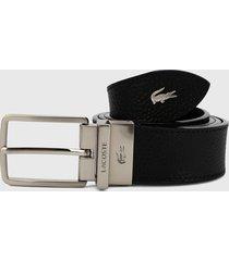 cinturón negro-plateado lacoste