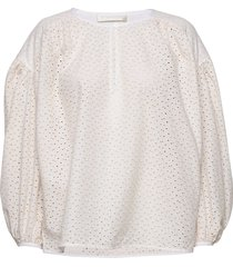 herdis broderie anglaise blouse lange mouwen wit fall winter spring summer