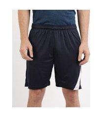 calção masculino ace esportivo com recorte e bolsos azul marinho