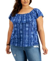 style & co plus size cotton printed off-the-shoulder top, created for macy's
