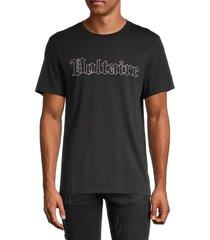 zadig & voltaire men's embellished-logo cotton tee - black - size m