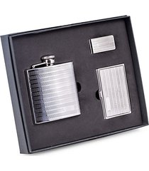 3-piece stainless steel flask, card case & money clip set