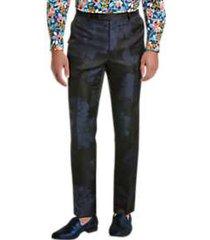 paisley & gray slim fit suit separates pants blue & black floral