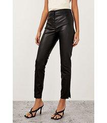 black leather skinny pants - black